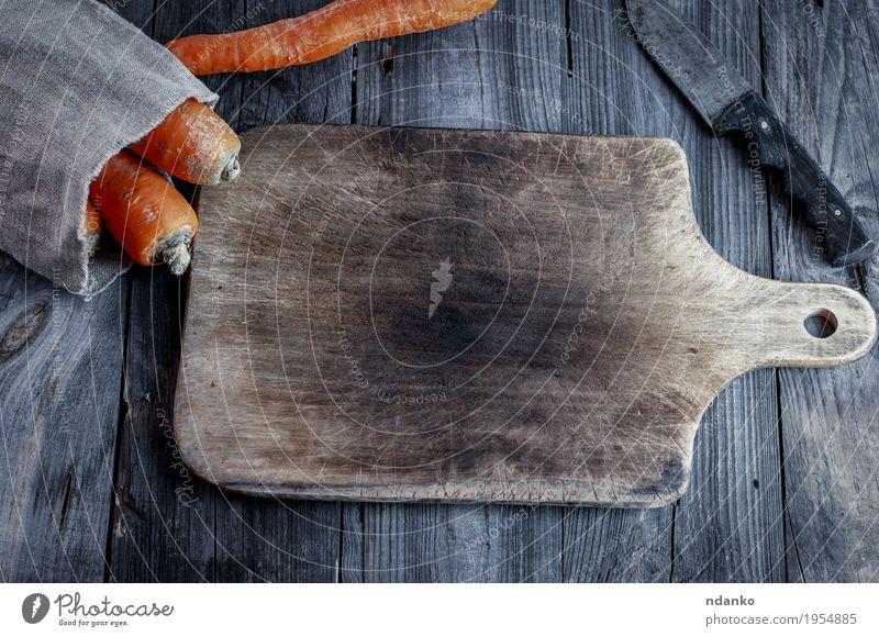 alt Essen natürlich Holz grau oben orange frisch Tisch lecker Gemüse Ernte Messer Top Vegetarische Ernährung Diät