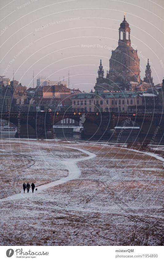 Winterspaziergang. Wege & Pfade Sehenswürdigkeit Hauptstadt Dresden verträumt Kunstwerk Barock Frauenkirche Elbufer Brühlsche Terrasse Augustusbrücke Elbtalaue
