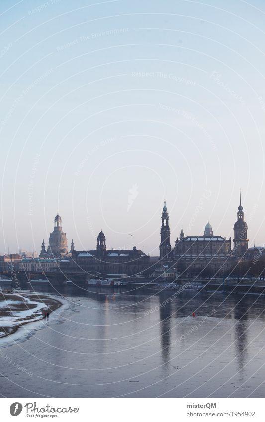Winter in Dresden. kalt Skyline Hauptstadt Sachsen Kunstwerk Elbe Barock Frauenkirche Hofkirche Dresden Elbtalaue