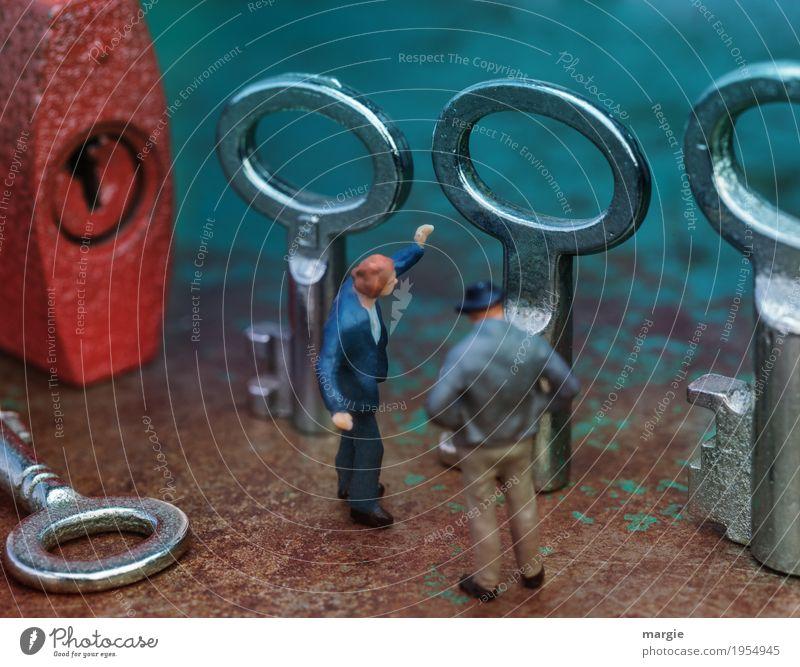 Miniwelten - Wer die Wahl hat..... Dienstleistungsgewerbe Werkzeug Technik & Technologie Mensch maskulin Mann Erwachsene 2 wählen rot silber türkis ratlos