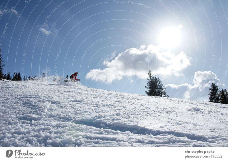 Abfahrt! Mensch Jugendliche Junge Frau Freude Winter Berge u. Gebirge Bewegung Schnee Sport Freizeit & Hobby Geschwindigkeit fahren Alpen Skifahren sportlich Skier
