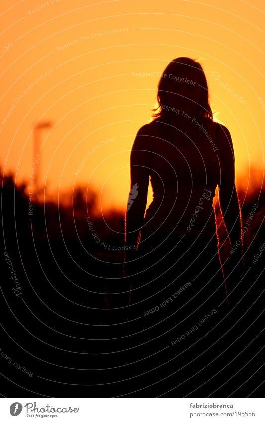 Sunrise Frau Mensch Jugendliche rot Sonne Ferien & Urlaub & Reisen Meer Sommer Strand schwarz Erwachsene gelb feminin Horizont gold leuchten