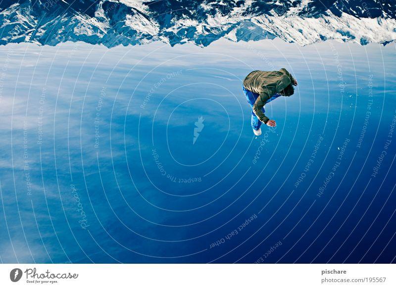 upside down III Lifestyle Spielen Sport Sportler maskulin Mann Erwachsene 1 Mensch Himmel Wolken Schönes Wetter Schnee Alpen Berge u. Gebirge
