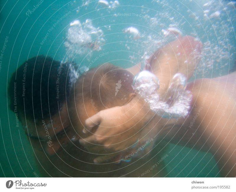 Schiffsmädchenjungs Mensch Jugendliche blau Wasser Sommer Meer Freude 18-30 Jahre Junger Mann Erwachsene Bewegung Schwimmen & Baden See Kopf maskulin
