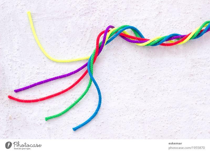 Integration Beton Zeichen Schnur ästhetisch fest Zusammensein stark mehrfarbig weiß Kraft Einigkeit Freundschaft Gesellschaft (Soziologie) Politik & Staat