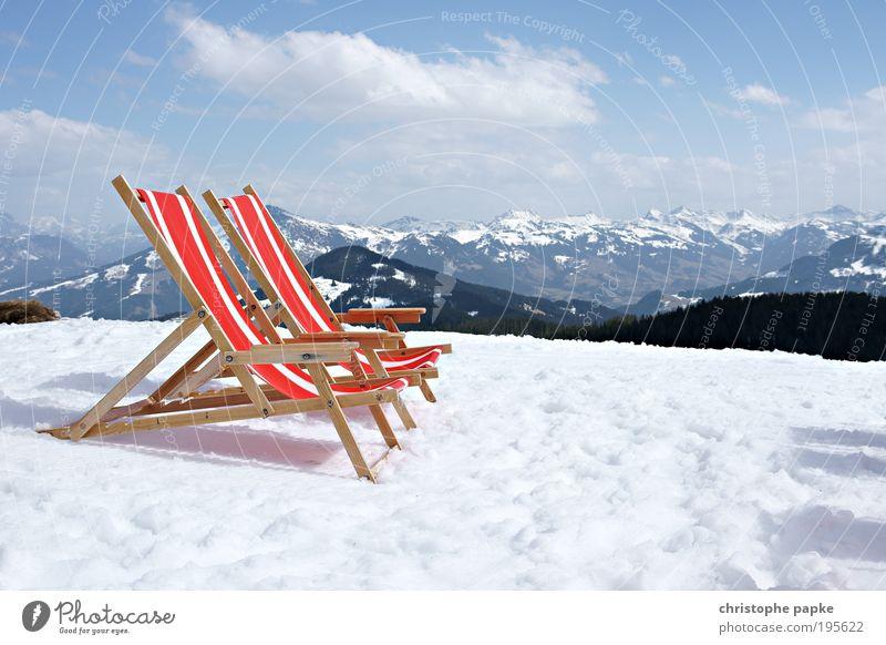 Schnee-Sonnenbad Erholung Ferien & Urlaub & Reisen Winter Winterurlaub Berge u. Gebirge Skipiste Schönes Wetter Alpen Gipfel Schneebedeckte Gipfel Brixental