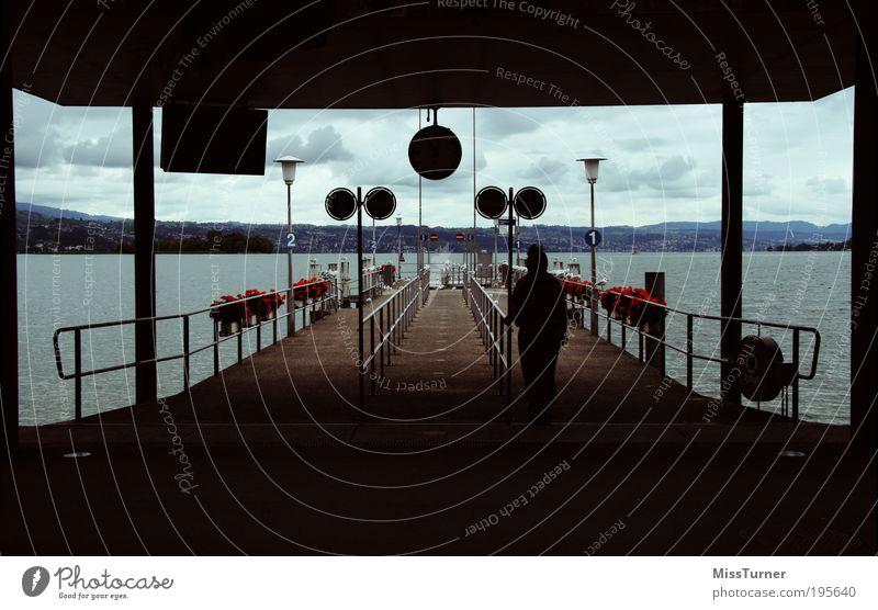 Waiting for the next ship Mensch Himmel Natur Wasser blau rot Blume Wolken ruhig schwarz Herbst Freiheit Gefühle See braun warten