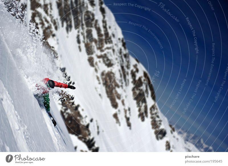 weißes Gold Freude Winter Berge u. Gebirge Schnee Sport Lifestyle Freiheit Freizeit & Hobby ästhetisch Schönes Wetter Coolness fahren Alpen sportlich