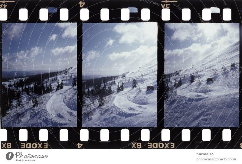 3in1 Wintersportgrusskarte Natur Ferien & Urlaub & Reisen Erholung Landschaft Wolken Ferne Berge u. Gebirge Umwelt Schnee Kunst Freiheit Horizont Eis