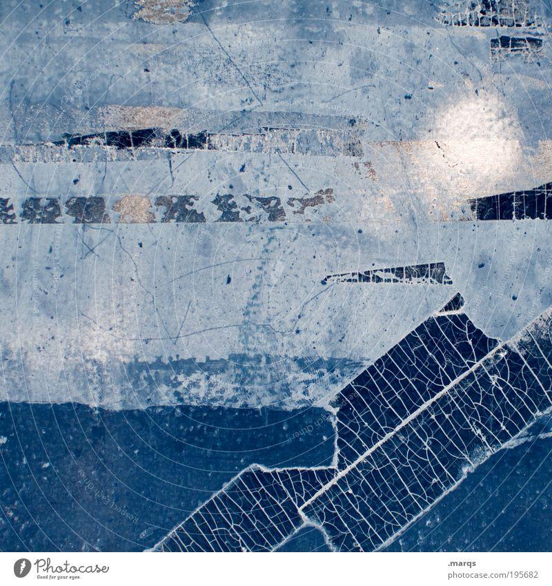 Tesa blau Farbe Wand Stil Mauer Linie Metall Hintergrundbild Design Schilder & Markierungen Fassade Kommunizieren Wandel & Veränderung Information Streifen einzigartig