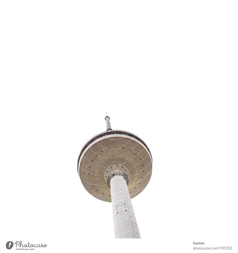 Die MS Funkturm weiß Architektur grau Gebäude hoch Beton modern groß Zukunft Turm Industrie Technik & Technologie Kommunizieren Telekommunikation Bauwerk