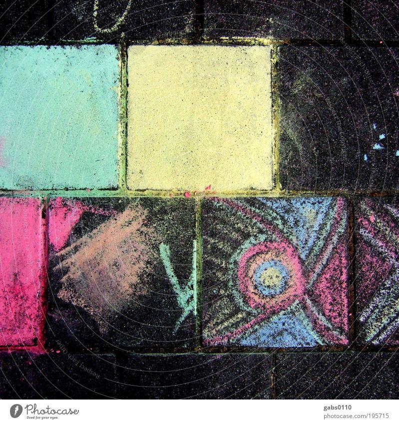 trostpflaster Glück Rauschmittel Freizeit & Hobby Spielen Handarbeit malen Kreide Pflastersteine mehrfarbig Muster Kreativität Freude gelb blau rosa