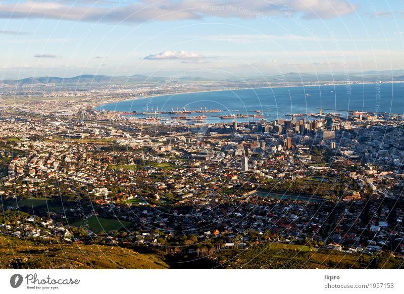 in Südafrika Kapstadt-Stadtskyline vom Tabellengebirgshimmel Himmel Natur Ferien & Urlaub & Reisen weiß Landschaft Meer Wolken Haus Berge u. Gebirge schwarz