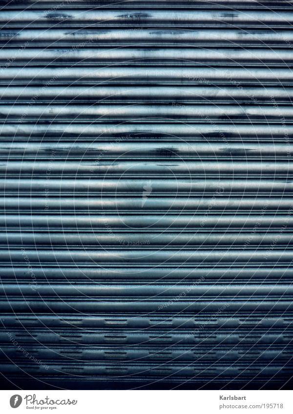 laden. schluss. Bewegung Metall Linie Arbeit & Erwerbstätigkeit Fassade Design Häusliches Leben Lifestyle Hinweisschild Streifen Industrie Fabrik Ende Umzug (Wohnungswechsel) Ladengeschäft Wirtschaft