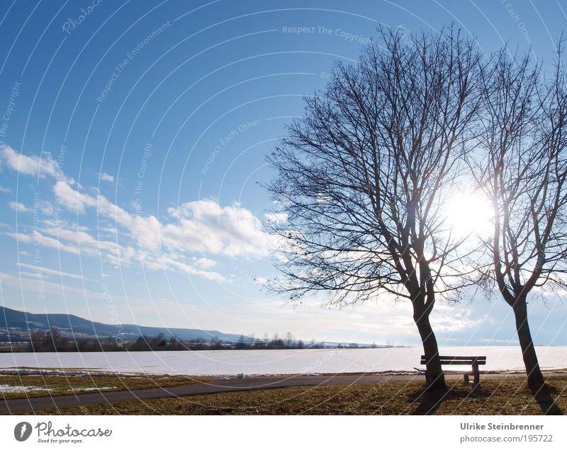 Schneeschmelze I Winter Natur Landschaft Erde Luft Wolken Sonnenlicht Schönes Wetter Baum Feld Zusammenhalt paarweise 2 Bank Aussicht ruhig Erholung