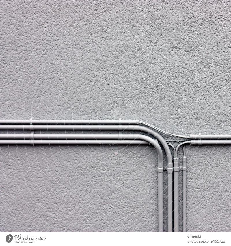 Stromlinienförmig Haus Umwelt Wand Gebäude Mauer grau Fassade Energiewirtschaft Technik & Technologie Zukunft Klima Elektrizität Telekommunikation Industrie Kabel Bauwerk