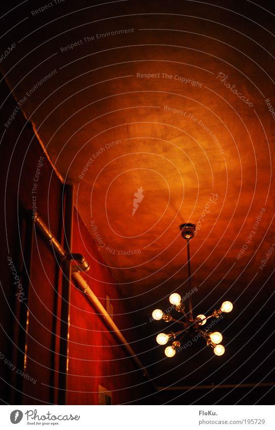 Lightburst Flur rot schwarz Lampe Wand Raum Wohnung gold Dekoration & Verzierung Häusliches Leben Innenarchitektur leuchten Röhren hängen Glühbirne Renovieren