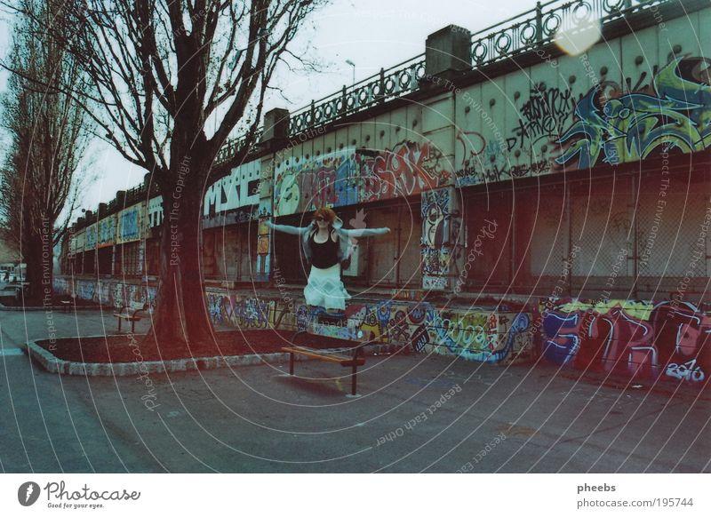 wasted. Frau Baum Sonne Graffiti springen frei Fluss Asphalt analog Wien Österreich Mensch