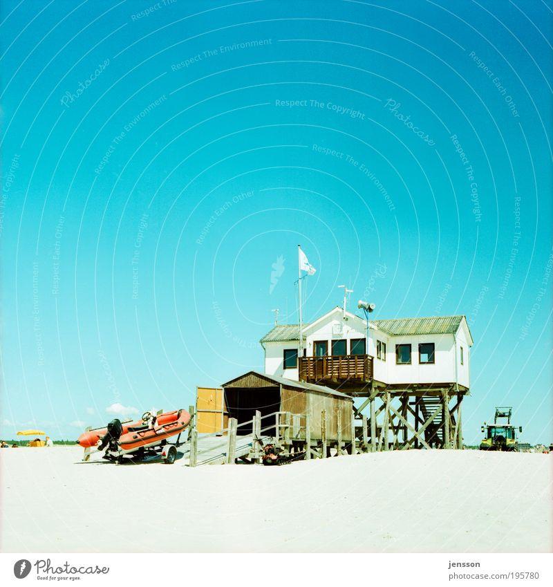 Buchtwacht Himmel blau Sommer Strand Ferien & Urlaub & Reisen Haus Wärme Landschaft natürlich Nordsee Schleswig-Holstein Deutschland Umwelt mehrfarbig Natur