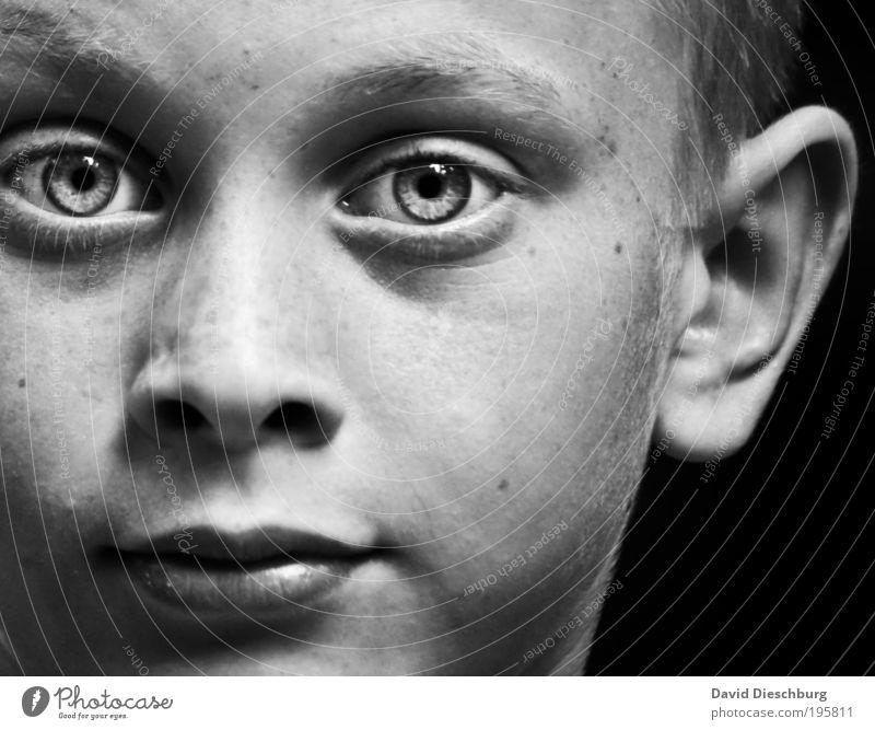 Daydreamer Mensch Junge Kindheit Haut Kopf Gesicht Auge Ohr Nase Mund Lippen 1 8-13 Jahre authentisch Pupille Schwarzweißfoto Kontrast Porträt Blick Grauwert