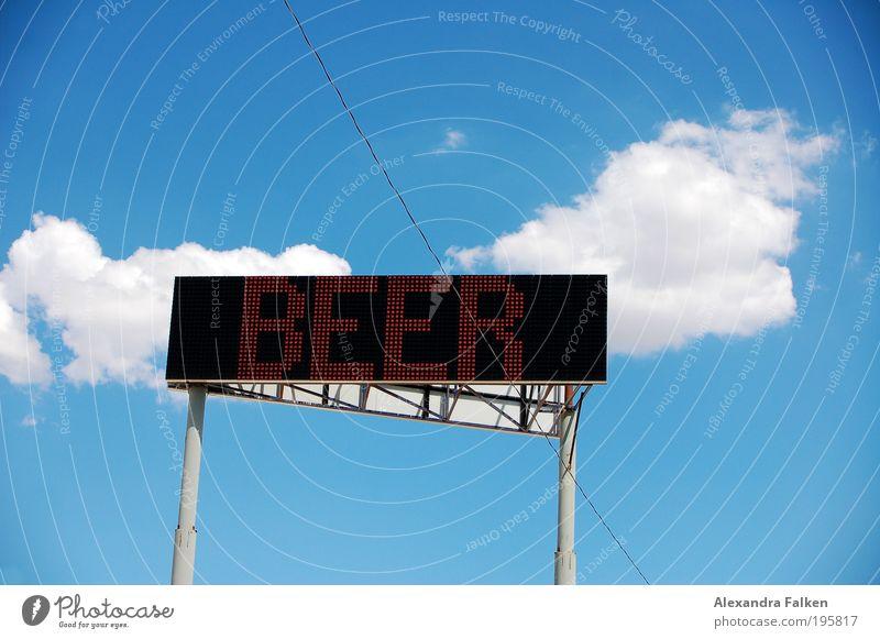 Heute gibt's Bier II Sommer Freude Feste & Feiern Schilder & Markierungen Gastronomie Veranstaltung Werbung Alkohol Bildschirm Sucht Stadion Anzeige Leuchtdiode