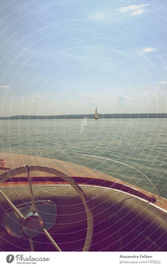 Sofern die Winde weh'n. Natur Wasser Himmel Sonne Sommer ruhig Erholung See Wasserfahrzeug Horizont Kitsch Hafen entdecken Segeln Bayern Schifffahrt