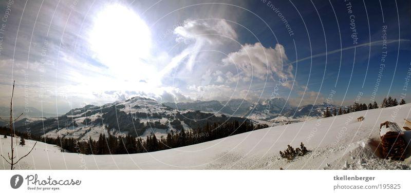 brightbildmountains Natur Himmel Wolken Horizont Sonne Winter Eis Frost Schnee Wiese Wald Alpen Berge u. Gebirge Alpstein Gipfel Schneebedeckte Gipfel kalt blau