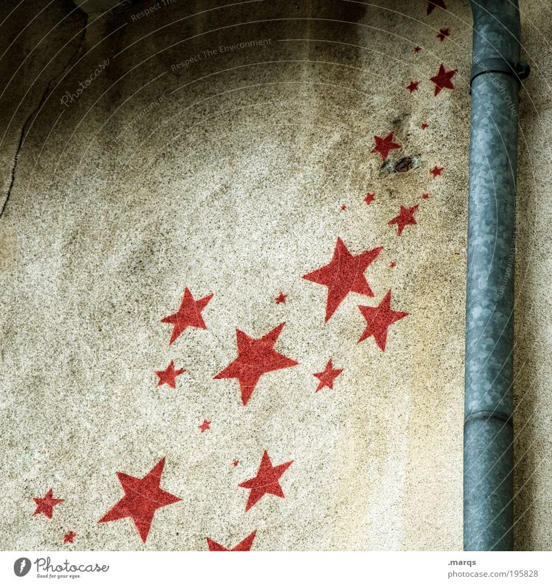 Sternhagelvoll rot Freude Wand Graffiti Stil Gebäude Mauer Feste & Feiern Fassade fliegen Schilder & Markierungen Beton Fröhlichkeit Stern (Symbol) einzigartig