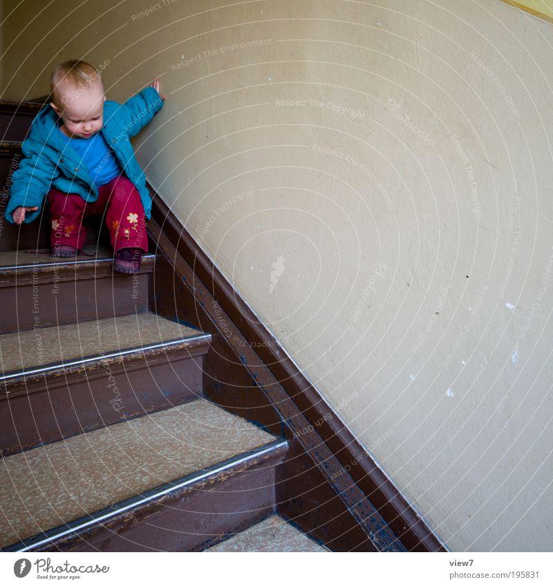 konzentriert Mensch Kind Mädchen Bewegung Holz Stein Kindheit Innenarchitektur Raum lernen Wachstum authentisch Neugier Vertrauen Kleinkind entdecken