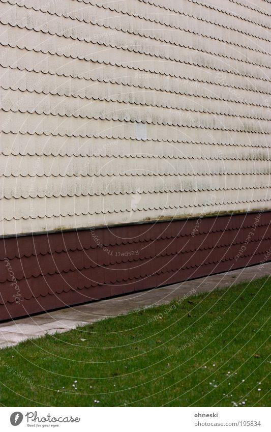 Vorgarten Haus Einfamilienhaus Bauwerk Gebäude Architektur Mauer Wand Fassade Garten Schindel alt hässlich grün Ordnungsliebe Verfall Gras Farbfoto