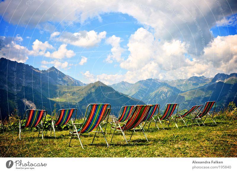 Setz Dich! Himmel Sonne Sommer Ferien & Urlaub & Reisen ruhig Wolken Erholung Berge u. Gebirge Freiheit Landschaft Zufriedenheit wandern Wetter Horizont Ausflug Wellness