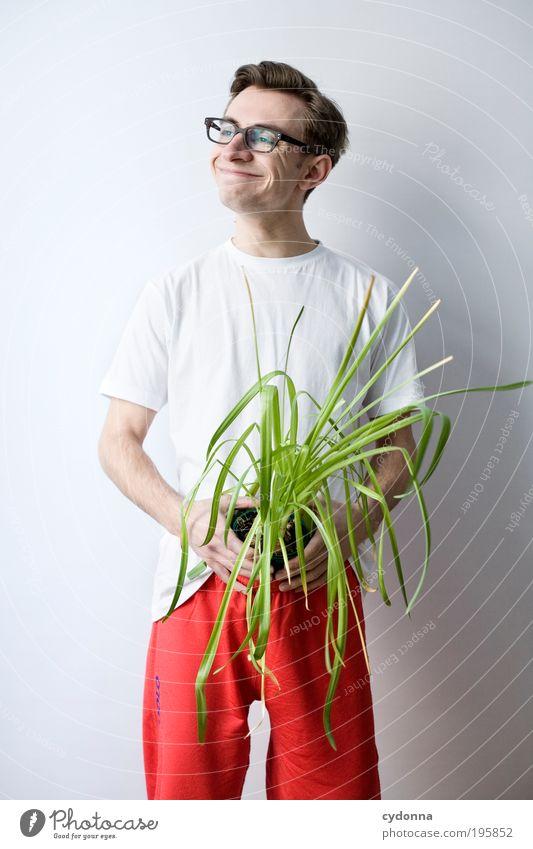 Alles Bio! Lifestyle Stil schön Gesundheit Leben Wohlgefühl Zufriedenheit Erholung Mann Erwachsene 18-30 Jahre Jugendliche Topfpflanze Erwartung Freude