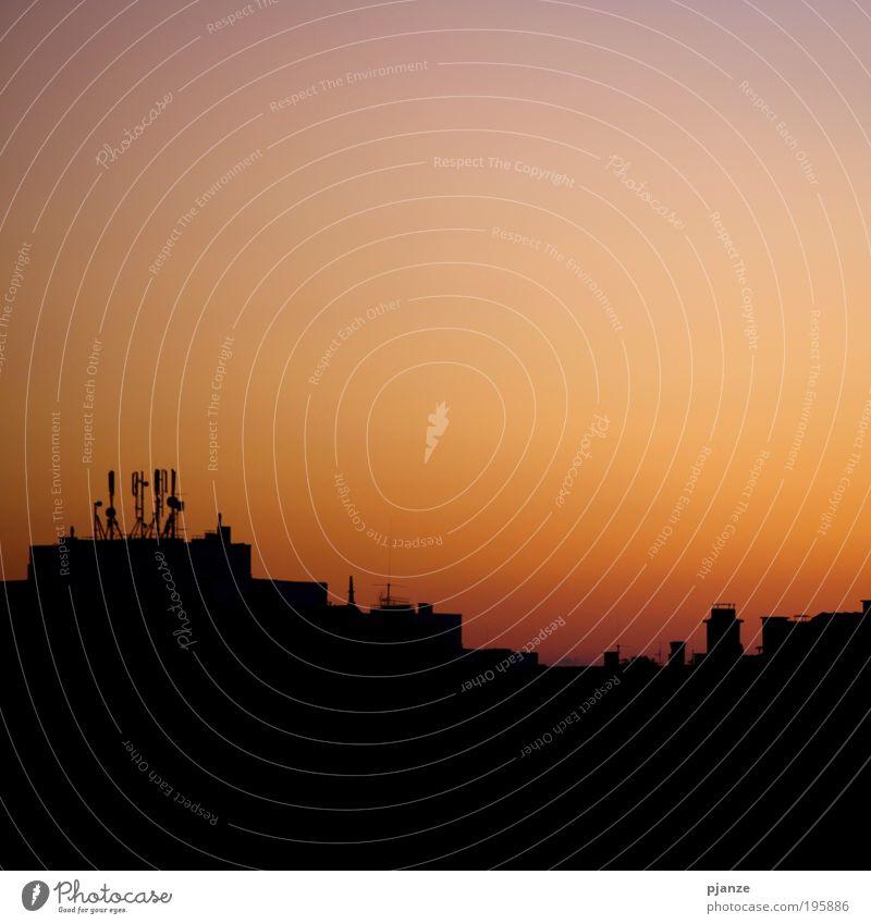 Moderne Welt Stadt Haus Wärme orange Architektur gold Warmherzigkeit Skyline Abenddämmerung Luftaufnahme