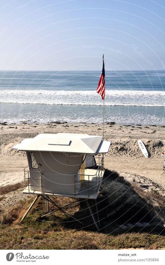 Rettungsturm Baywatch Bademeister USA Ferien & Urlaub & Reisen Tourismus Sommer Sommerurlaub Sonnenbad Strand Meer Wellen tauchen Sand Wasser Wolkenloser Himmel