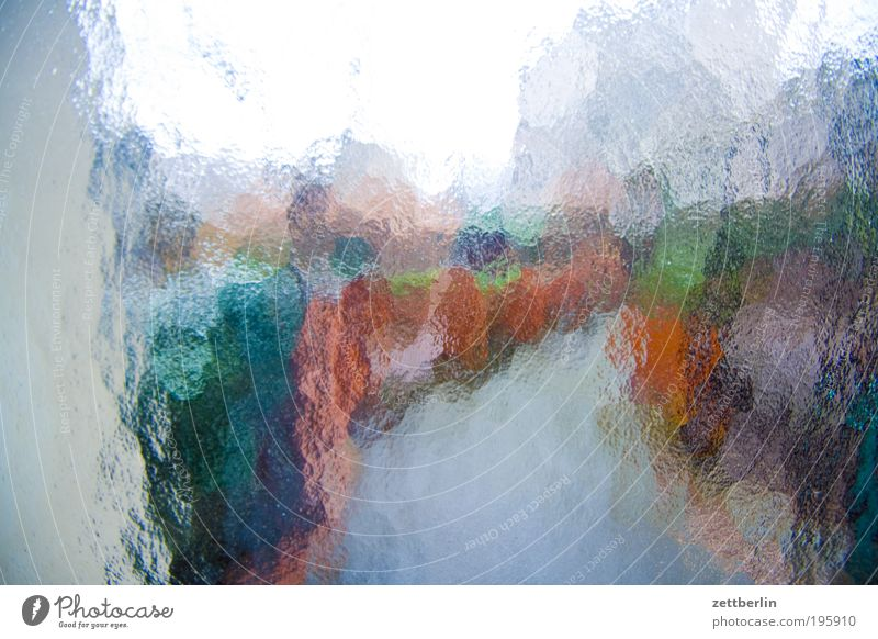 Gartenhaus Glas Fensterscheibe Scheibe Glasscheibe Riffelglas Kathedrale Strukturen & Formen Ordnung unklar Unschärfe Bewusstseinsstörung gebrochen Bruch Tür