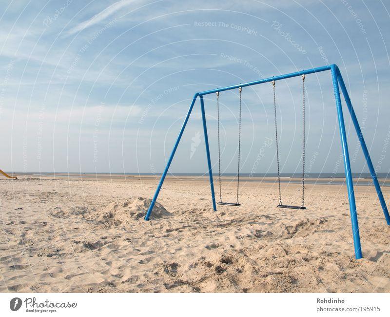 Strandspielplatz Natur Wasser Himmel Meer blau Sommer Freude Strand ruhig Leben Spielen Bewegung Glück träumen Sand Landschaft