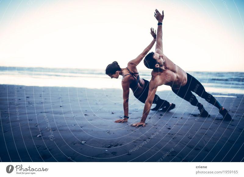 Jugendliche Junge Frau Junger Mann Meer Strand Erwachsene Leben Lifestyle Sport Paar Sand Zusammensein Freizeit & Hobby Körper Fröhlichkeit Fitness