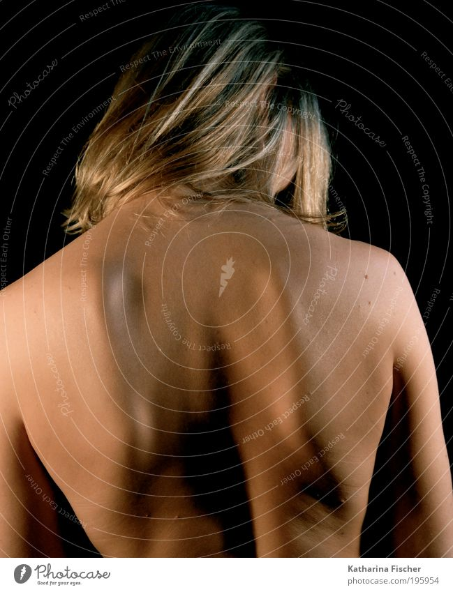 Starker Rücken Körper Haut Mensch androgyn Kopf Arme 1 ästhetisch blond Gesundheit muskulös nackt natürlich stark braun Haarsträhne Rückenschule Rückenschmerzen