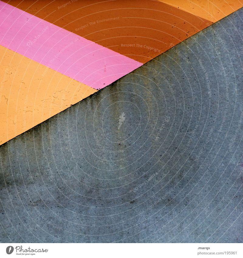 Bunt und unbunt Farbe Wand grau Stil Mauer Linie orange braun elegant rosa Fassade Beton Design außergewöhnlich Streifen einzigartig