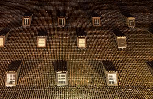 Augen auf! Stadt Fenster dunkel Gebäude braun Aussicht Dach Schutz Bauwerk Wachsamkeit gegen frontal Dachziegel Dachfenster Gdánsk