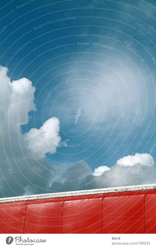 NEPHOLOGIE Umwelt Natur Urelemente Luft Himmel Wolken Klima Wetter Ferne Wolkenhimmel rot Fassadenverkleidung Kumulus Wolkenformation Wolkenband Blech Blechdach