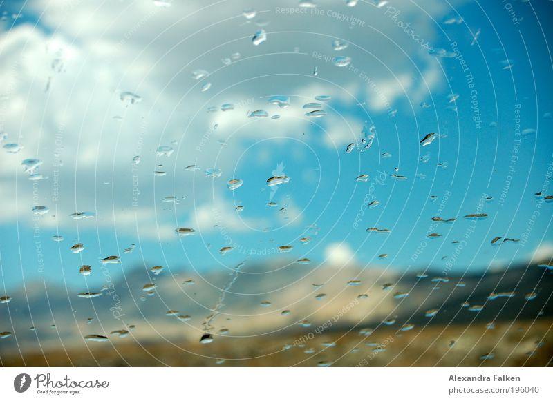 Raindrops Wasser schön Sonne blau Wolken Berge u. Gebirge PKW Regen Wetter Wassertropfen Tropfen Klima Hügel Autofenster Erfrischung