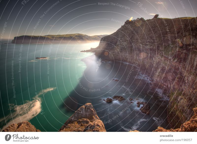 New Zealand XXIII Umwelt Natur Landschaft Urelemente Erde Sand Himmel Pflanze Gras Sträucher Nutzpflanze Wiese Feld Hügel Felsen Wellen Küste Strand Bucht Fjord