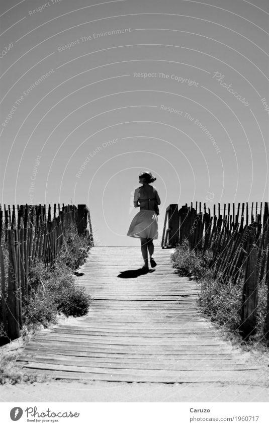 Ein Tag am Meer Mensch Frau Natur Jugendliche Sommer Landschaft Erholung Strand 18-30 Jahre Erwachsene Küste feminin Holz grau Sand