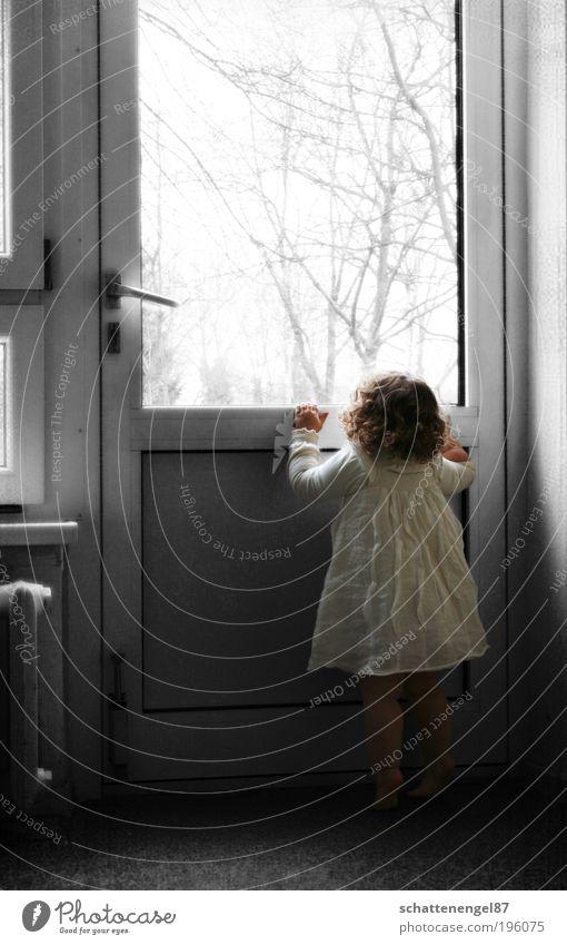 wer ist da? Raum Kind Kleinkind Mädchen 1 Mensch 1-3 Jahre Sonnenlicht Baum Kleid Barfuß brünett Locken Schloss beobachten stehen Traurigkeit dunkel schön klein