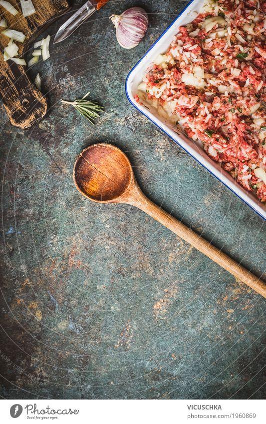 Fleischfüllung mit Reis und Kochlöffel Gesunde Ernährung Foodfotografie Stil Lebensmittel Design Kräuter & Gewürze Küche Gastronomie Bioprodukte Restaurant