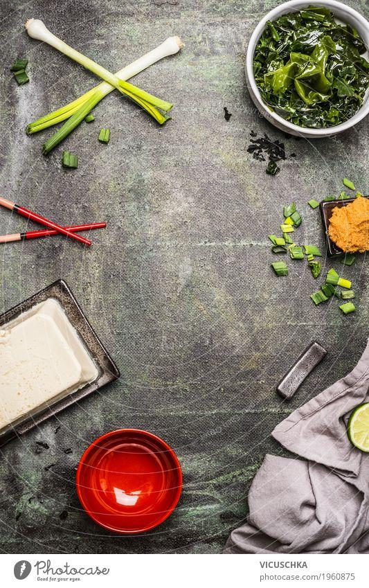 Zutaten für japanische Miso Suppe Lebensmittel Ernährung Bioprodukte Vegetarische Ernährung Diät Asiatische Küche Geschirr Stil Design Gesundheit