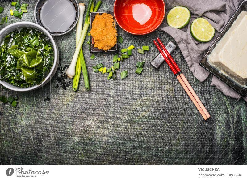 Japanische Küche. Zutaten für Miso Suppe Lebensmittel Eintopf Ernährung Mittagessen Abendessen Asiatische Küche Geschirr Stil Design Gesundheit