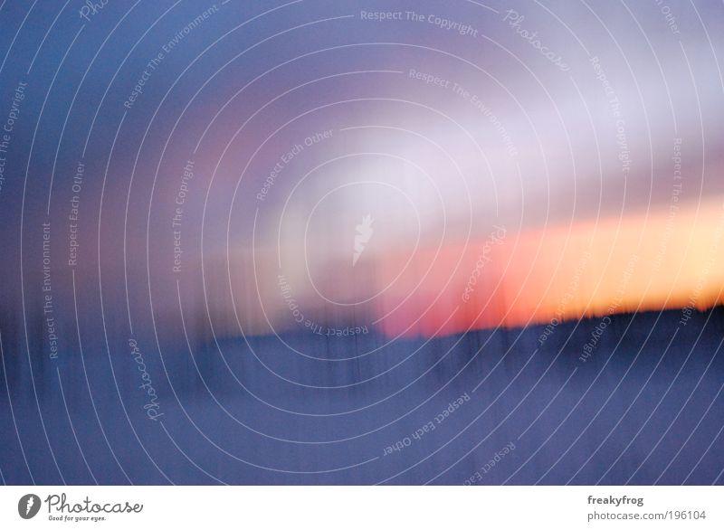 UN SCHARF ES EX PERI MENT Natur Landschaft Luft Himmel Sonnenaufgang Sonnenuntergang Winter Schönes Wetter Schnee Feld Denken gehen genießen laufen leuchten