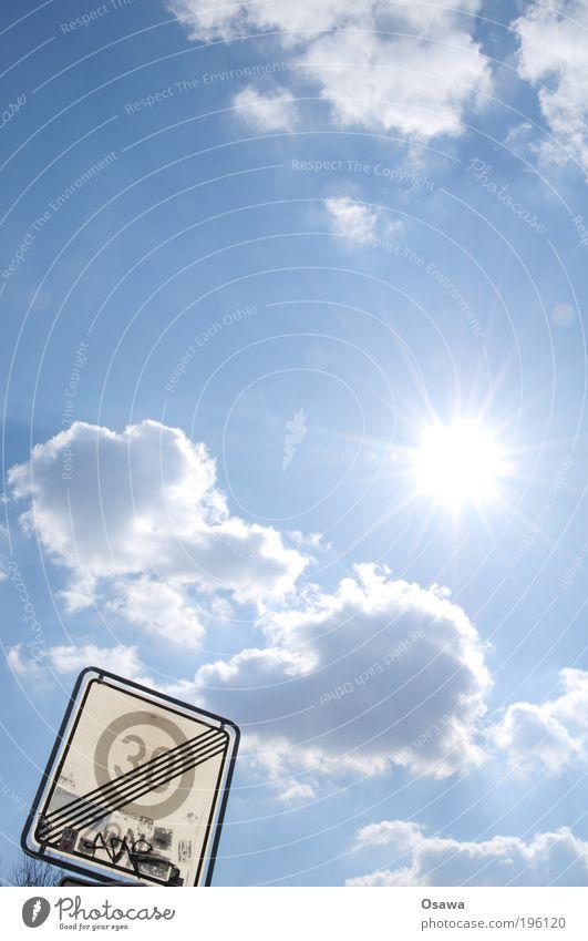 Schneller 30er Zone Geschwindigkeitsbegrenzung Freie Fahrt für freie Bürger Ende Sonne Himmel Himmel (Jenseits) Wolken weiß blau hell-blau Blauer Himmel